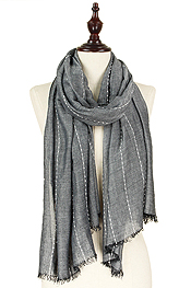 THIN PUFFY STRIPE SCARF - 40% VISCOSE 60% POLYESTER