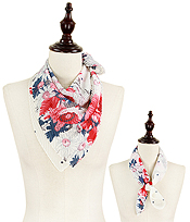 FLOWER DOT PLEATED CHIFFON BANDANA SCARF - 100% POLYESTER