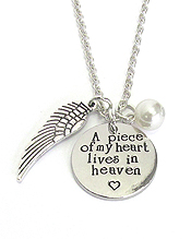 INSPIRATION MESSAGE STAMP MULTI CHARM PENDANT NECKLACE - A PIECE OF MY HEART LIVES IN HEAVEN