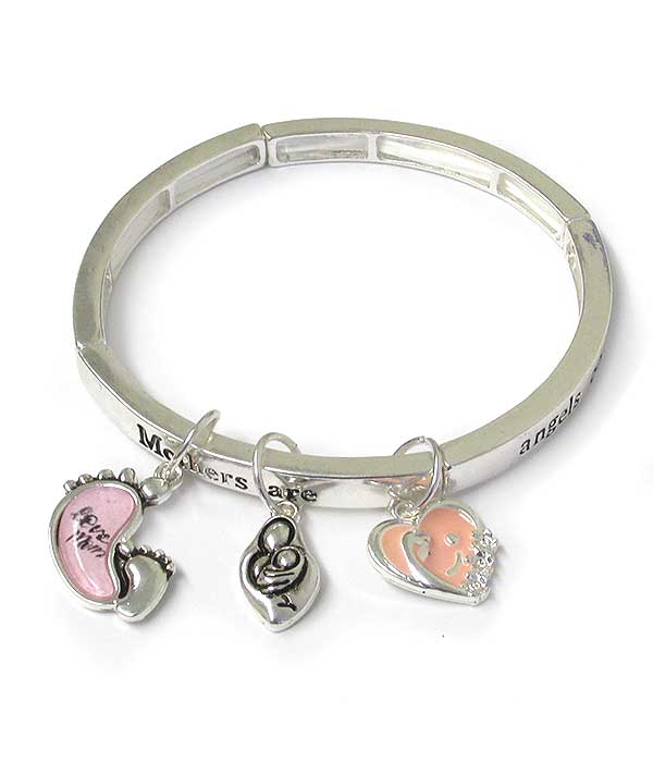 INSPIRATION MESSAGE CHARM STRETCH BRACELET - MOTHERS ARE ANGELS ON EARTH