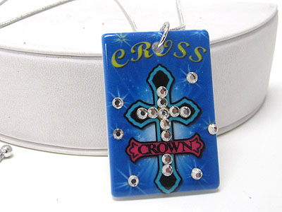CROSS TATTOO PICTURE CRYSTAL STUD ACRYL PEANDANT NECKLACE
