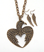 AZTECA THEME METAL TEXTURED THUNDERBIRD LONG CHAIN NECKLACE EARRING SET
