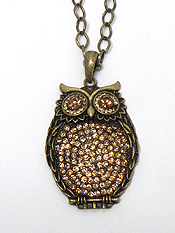LARGE CRYSTAL OWL PENDANT LONG CHAIN NECKLACE SET