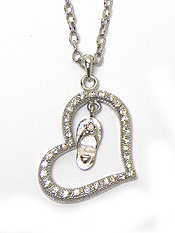 WHITEGOLD PLATING CRYSTAL HEART AND FLIPFLOP DANGLE NECKLACE