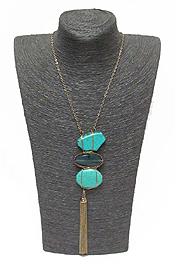 SEMI PRECIOUS STONE AND TASSEL DROP NECKLACE SET