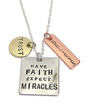 INSPIRATION MESSAGE TRIPLE PENDANT NECKLACE - TRUST FAITH BELIEVE