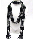 MULTI ACRLY BALL AND BRAIDED YARN NECKLACE SCARF