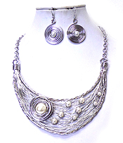 WIRE ART WITH PEARLS CHOKER NECKLACE SET