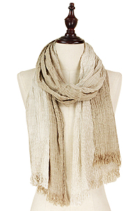 CRINKLE COLOR OMBRE STRIPE SCARF - 100% VISCOSE