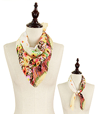 FLOWER PLEATED CHIFFON BANDANA SCARF - 100% POLYESTER