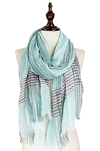 LUREX DECO LINEN LOOK OBLONG SCARF - 100% POLYESTER