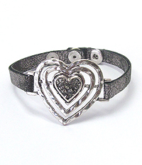 CRYSTAL CENTER GLUED HEART AND LEATHERETTE BAND BRACELET
