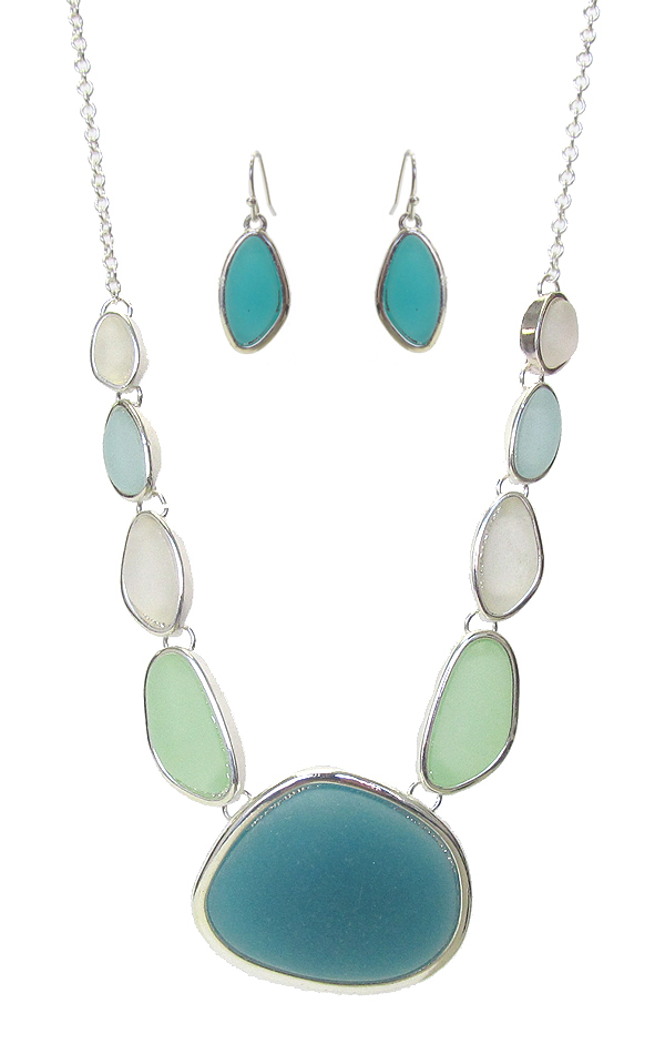 SEA GLASS LINK NECKLACE SET