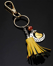 I LOVE YOU TO THE MOON AND BACK  SISTER TASSEL DROP KEYCHAIN