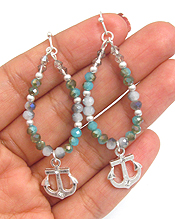 GLASS BEAD AND ANCHOR DROP EARRING