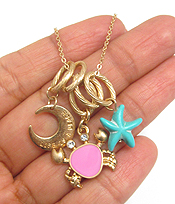 STARFISH AND CRAB CHARM NECKLACE