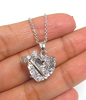 CUBIC ZIRCONIA HEART AND BOW PENDANT NECKLACE