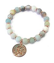 PATINA DISK MONOGRAM AND BALL STONE STRETCH BRACELET - B