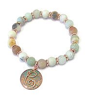 PATINA DISK MONOGRAM AND BALL STONE STRETCH BRACELET - C