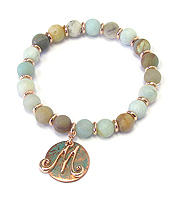 PATINA DISK MONOGRAM AND BALL STONE STRETCH BRACELET - M