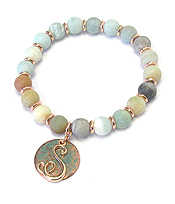 PATINA DISK MONOGRAM AND BALL STONE STRETCH BRACELET - S