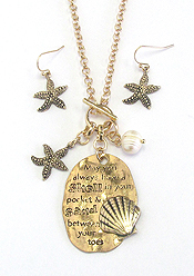 SEALIFE THEME PENDANT TOGGLE NECKLACE - MAY YOU ALWAYS HAVE A SHELL IN YOUR POCKET