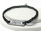 CRYSTAL DECO MESSAGE METAL PLATE AND TWISTED CORD FRIENDSHIP BRACELET
