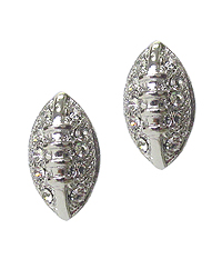 WHITEGOLD PLATING CRYSTAL FOOTBALL EARRING