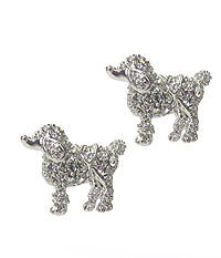WHITEGOLD PLATING CRYSTAL DOG EARRING