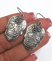SUGAR SKULL MEATL TEXTURED FISH HOOK EARRINGS