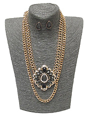 SPRING STATEMENT CRYSTAL AND GLASS MIX FLOWER DOUBLE LAYER CHAIN NECKLACE SET