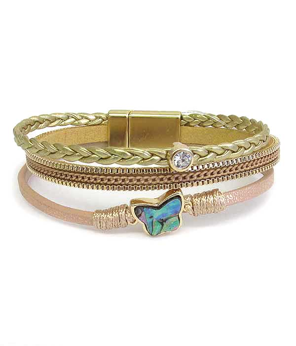 ABALONE BUTTERFLY AND MULTI LAYER LEATHERETTE MAGNETIC BRACELET
