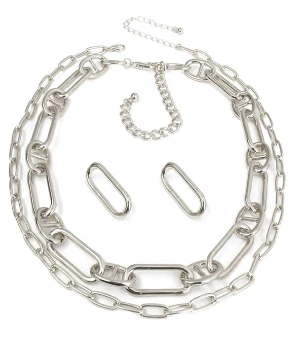 DOUBLE CHUNKY CHAIN NECKLACE SET
