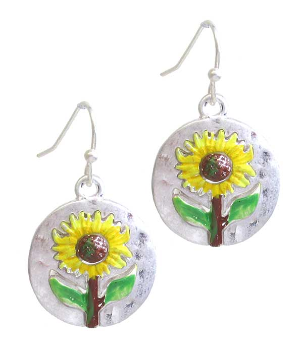 EPOXY SUNFLOWER DISC EARRING