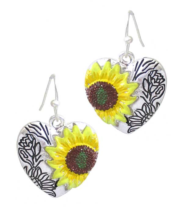 EPOXY SUNFLOWER HEART EARRING