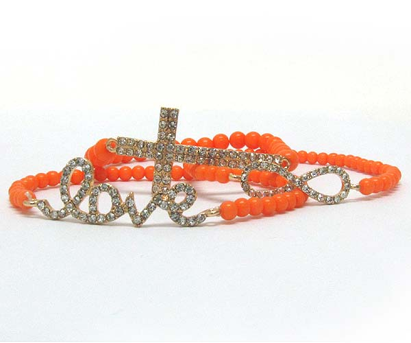 CRYSTAL CROSS ,LOVE ,TIWST THEME METAL WITH MULTI ARYLY BEADS STRETCH BARCELET SET OF THREE