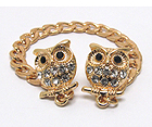 TWO CRYSTAL OWL WITH CHAIN COLLAR PIN