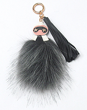 DESIGNER STYLE FUR AND TASSEL KEY CHAIN