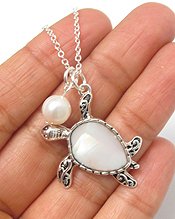 MOTHER OF PEARL TURTLE AND FRESHWATR PEARL NECKLACE