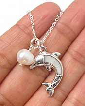 MOTHER OF PEARL DOLPHIN AND FRESHWATR PEARL NECKLACE
