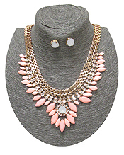 SPRING STATEMENT FLAT CHAIN WITH STONES DROP NECKLACE SET