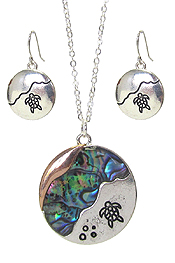SEALIFE THEME ABALONE PENDANT NECKLACE SET - TURTLE
