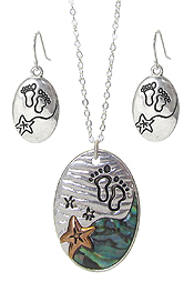 SEALIFE THEME ABALONE PENDANT NECKLACE SET - STARFISH AND FOOT PRINT