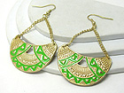 AZTEC INSPIRED PATTERN CRESCENT DROP EARRING