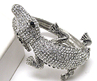 CRYSTAL PAVE ALLIGATOR STRETCH BANGLE BRACELET