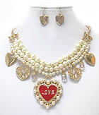 CRYSTAL AND PEARL HEART PENDANT AND 3 LAYER PEARL CHAIN NECKLACE EARRING SET