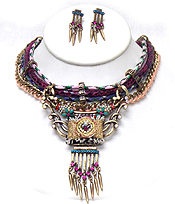 4 LAYER MULTI DESIGNS BEADS AND CRYSTAL ART DECO NECKLACE SET