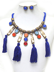 ROPE WITH STONES AND TASSEL DROP NECKLACE SET