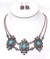 TWO LAYER CHAIN WITH BEADS ART DECO NECKLACE SET