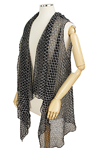 DOUBLE TONE DIAMOND LACE VEST - 100% POLYESTER
